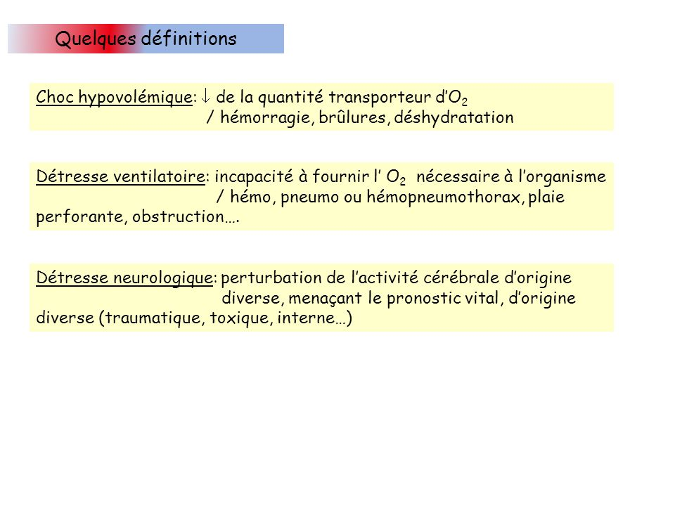Quelques définitions Choc hypovolémique:  de la quantité transporteur d'O2. / hémorragie, brûlures, déshydratation.