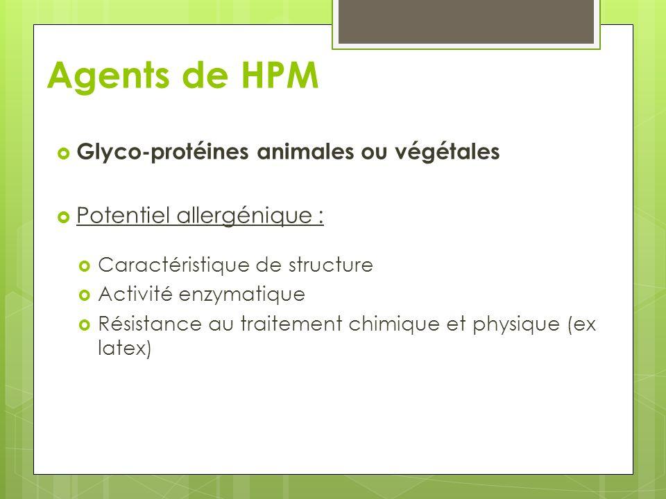 Agents de HPM Glyco-protéines animales ou végétales