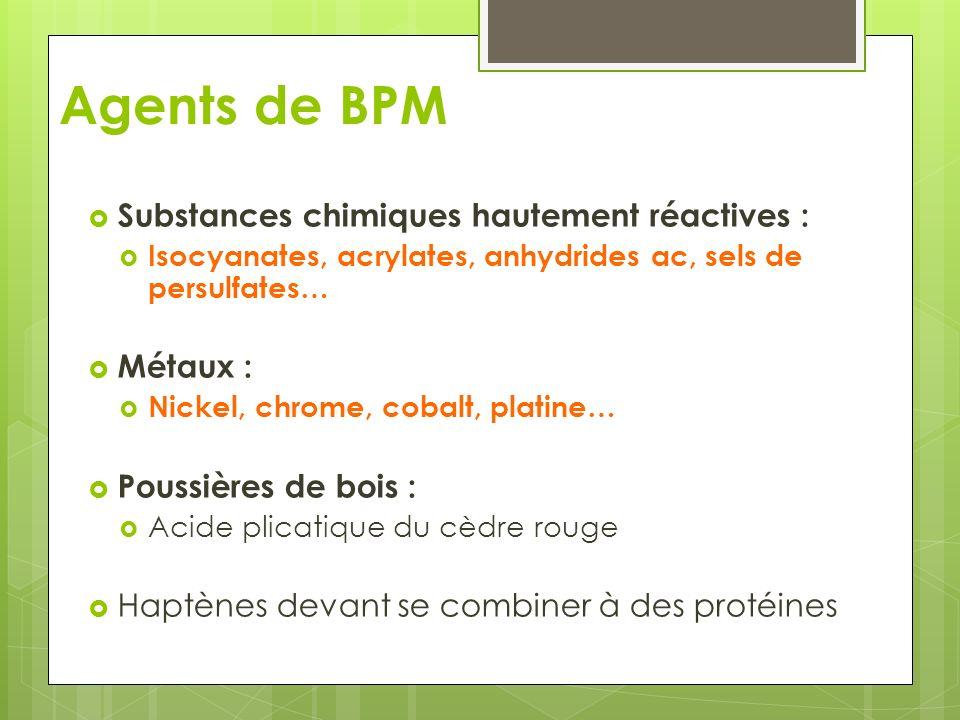 Agents de BPM Substances chimiques hautement réactives : Métaux :