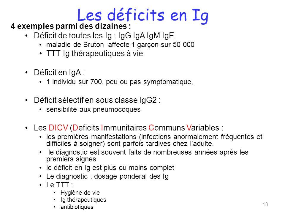 Les déficits en Ig 4 exemples parmi des dizaines :