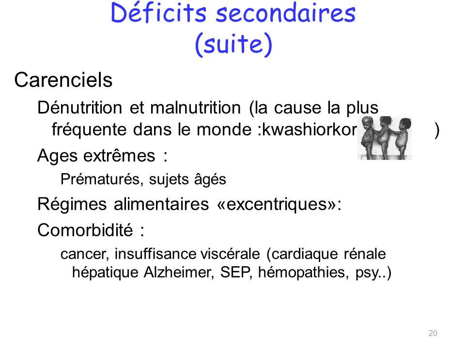 Déficits secondaires (suite)