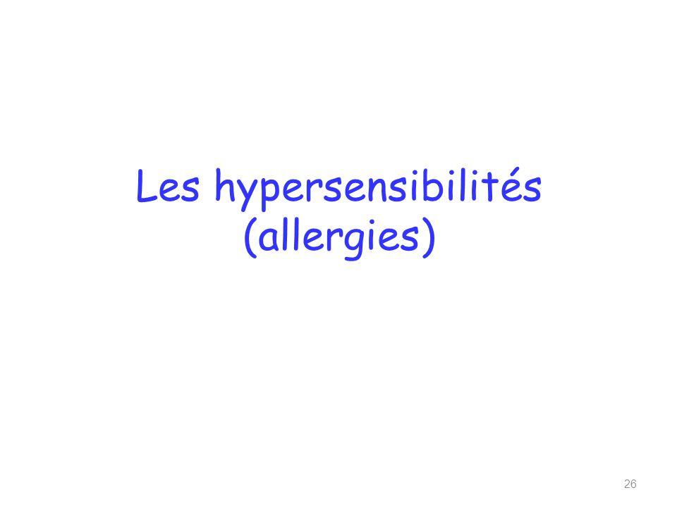 Les hypersensibilités (allergies)