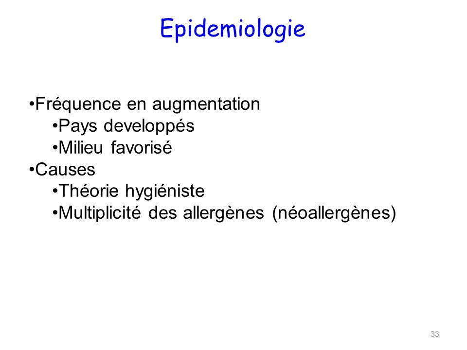 Epidemiologie Fréquence en augmentation Pays developpés