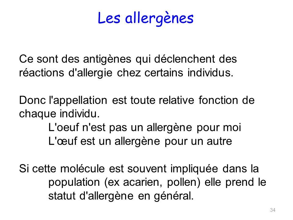 Les allergènes Ce sont des antigènes qui déclenchent des réactions d allergie chez certains individus.