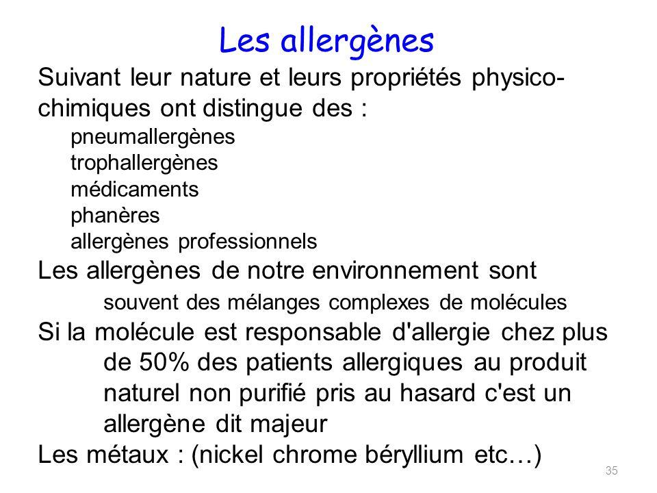 Les allergènes Suivant leur nature et leurs propriétés physico-chimiques ont distingue des : pneumallergènes.