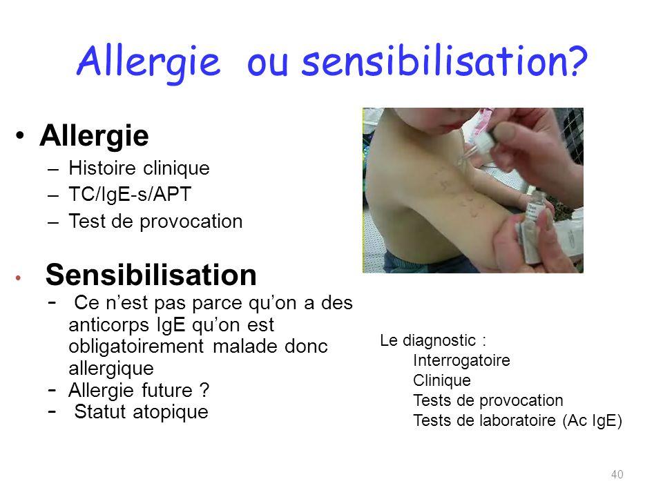 Allergie ou sensibilisation