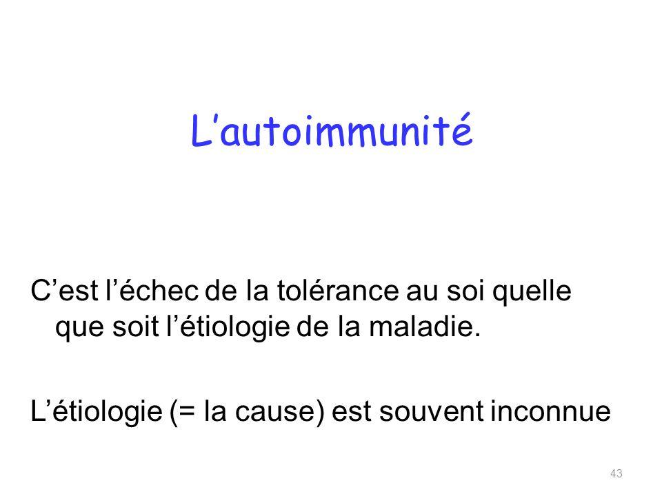 L'autoimmunité C'est l'échec de la tolérance au soi quelle que soit l'étiologie de la maladie.