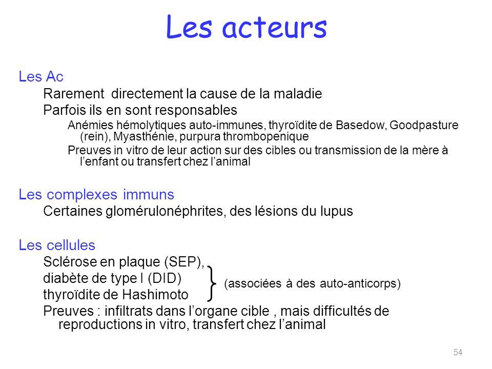 Les acteurs Les Ac Les complexes immuns Les cellules