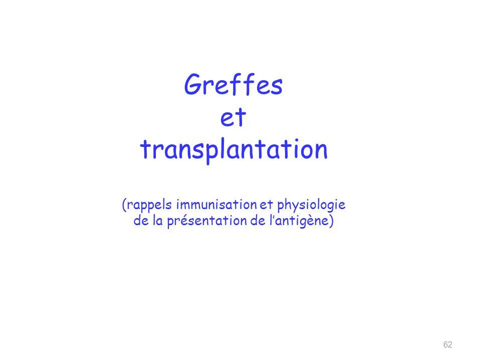 Greffes et transplantation (rappels immunisation et physiologie de la présentation de l'antigène)