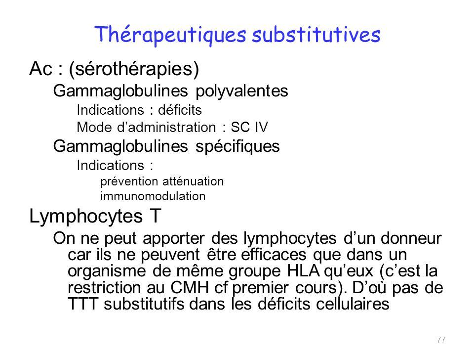 Thérapeutiques substitutives