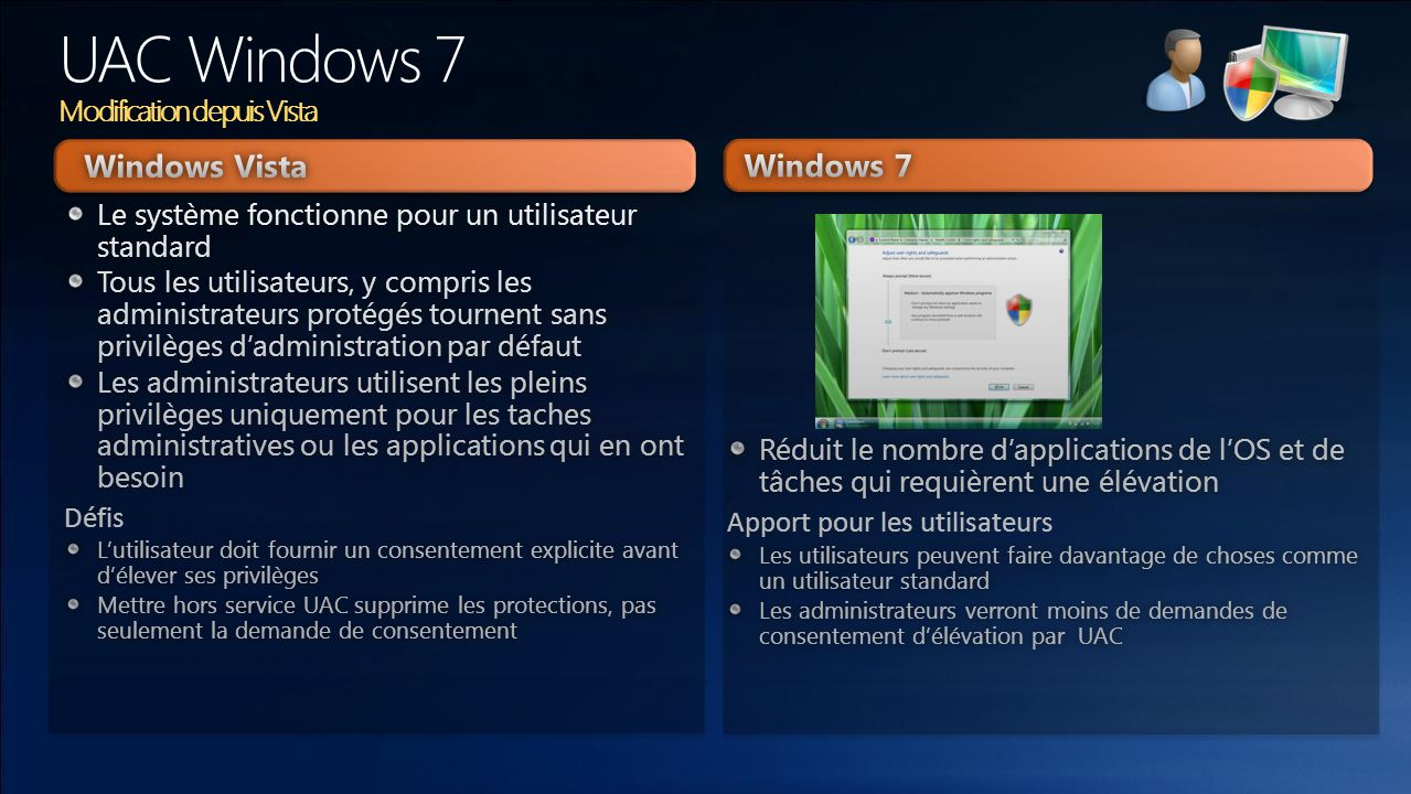 UAC Windows 7 Modification depuis Vista