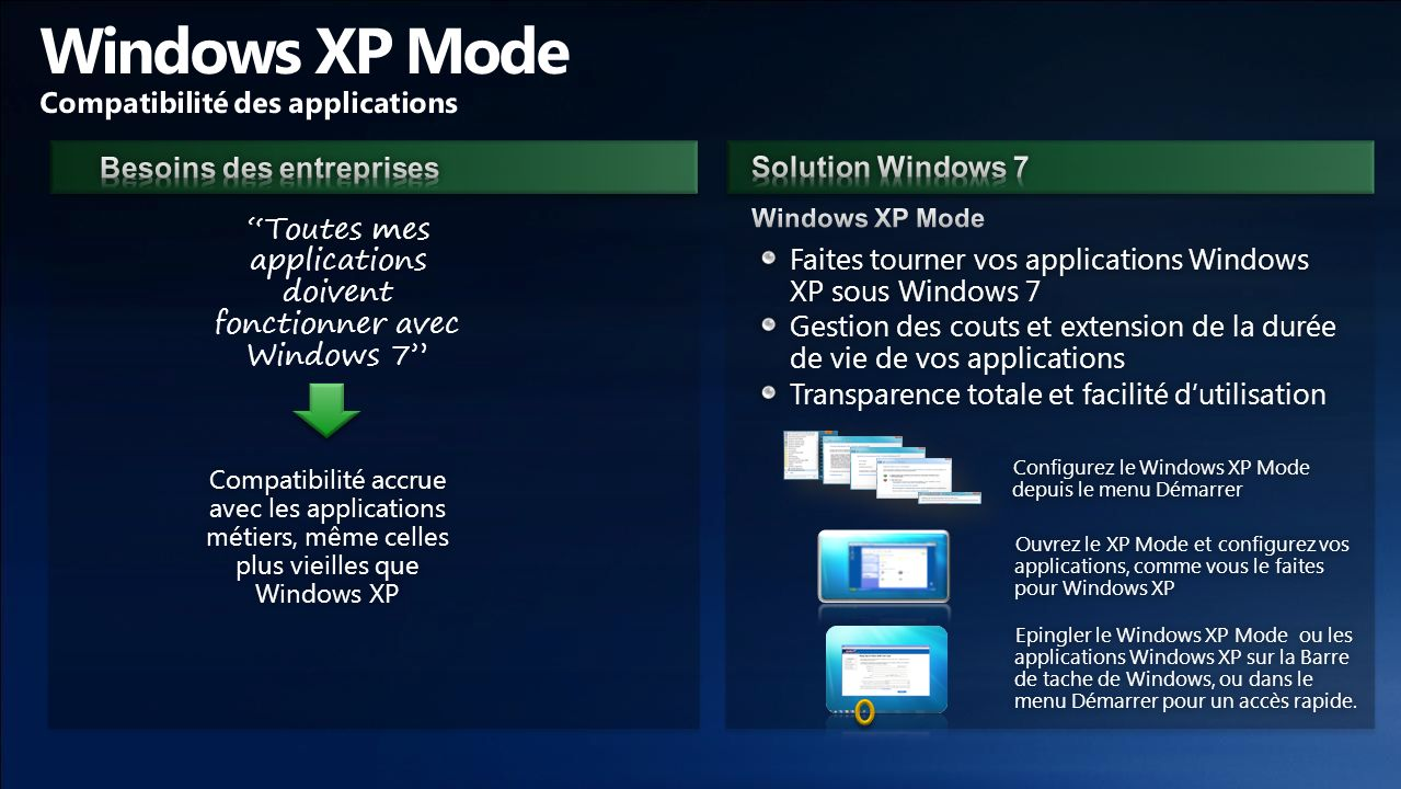Windows XP Mode Compatibilité des applications