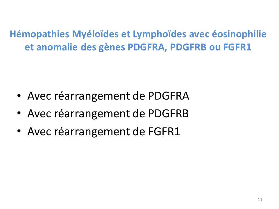 Avec réarrangement de PDGFRA Avec réarrangement de PDGFRB