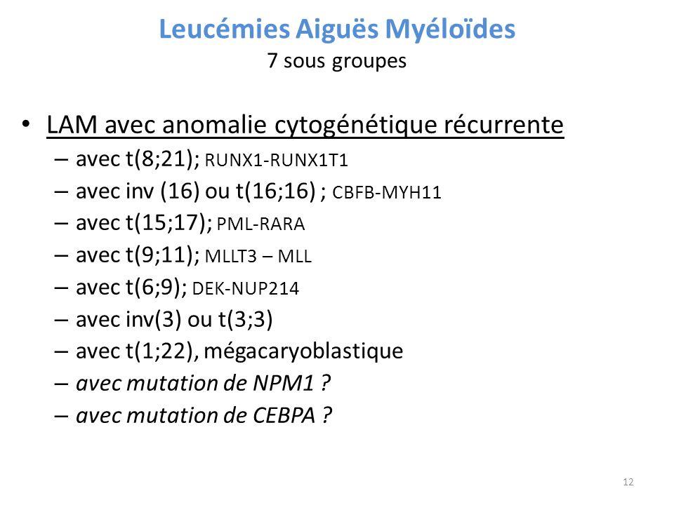 Leucémies Aiguës Myéloïdes 7 sous groupes