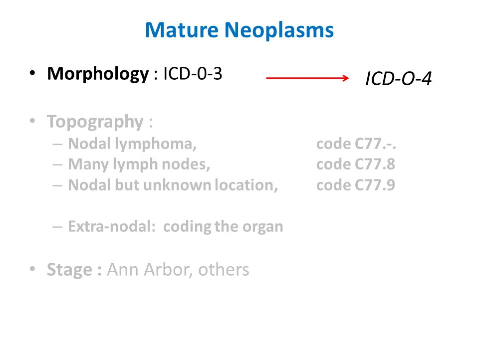 Mature Neoplasms ICD-O-4 Morphology : ICD-0-3 Topography :