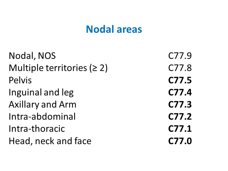 Nodal areas Nodal, NOS C77.9 Multiple territories (≥ 2) C77.8