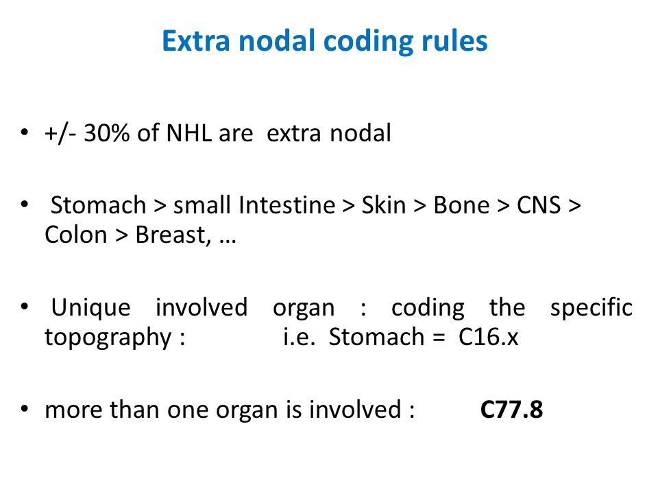 Extra nodal coding rules