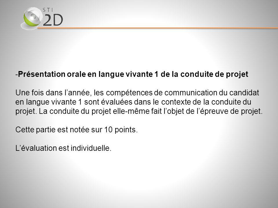 Présentation orale en langue vivante 1 de la conduite de projet