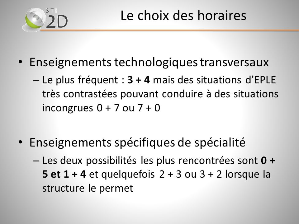 Le choix des horaires Enseignements technologiques transversaux