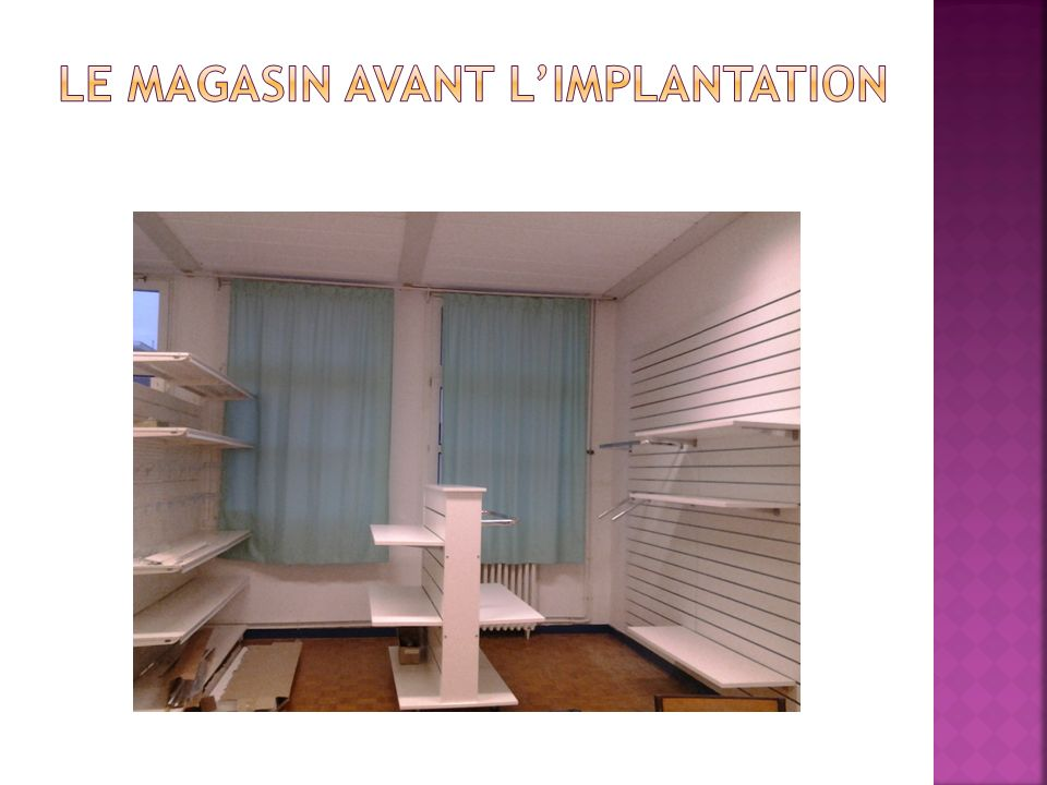 Le magasin avant l'IMPLANTATION