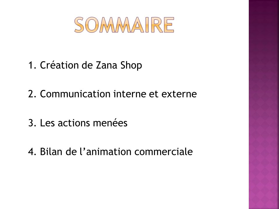 Sommaire 1. Création de Zana Shop 2. Communication interne et externe