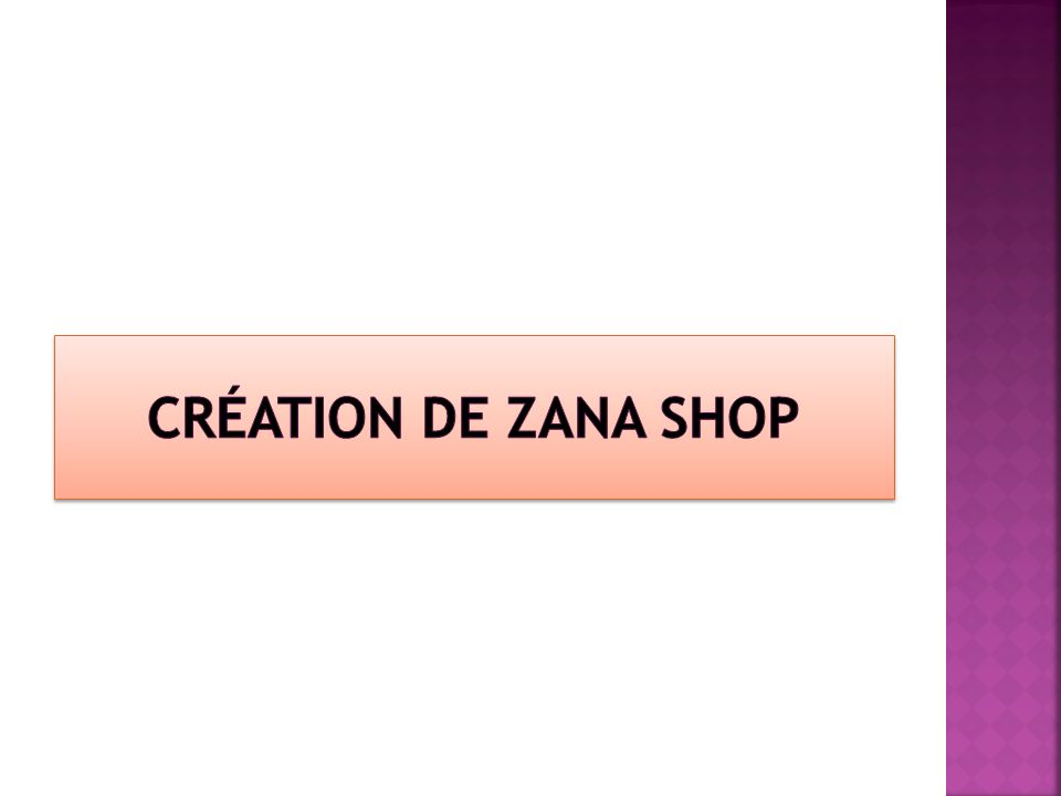 Création de ZANA SHOP