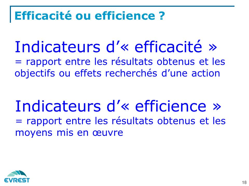 Efficacité ou efficience