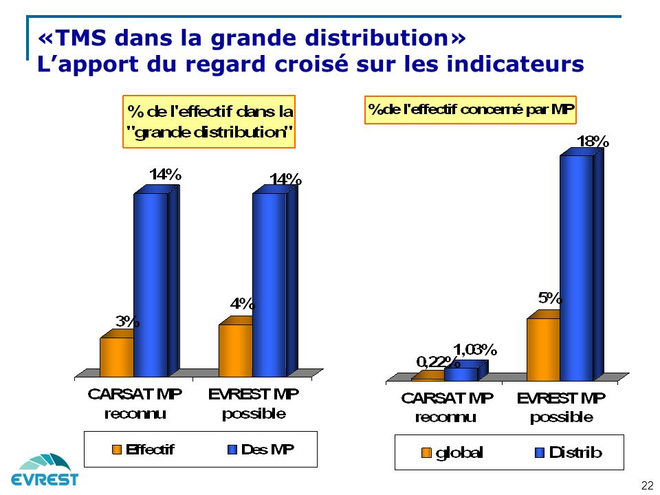 «TMS dans la grande distribution» L'apport du regard croisé sur les indicateurs