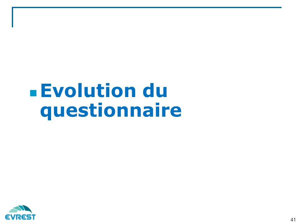 Evolution du questionnaire