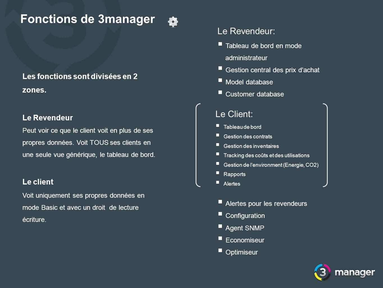 Fonctions de 3manager Le Revendeur: Le Client: