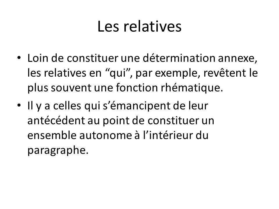 Les relatives Loin de constituer une détermination annexe, les relatives en qui , par exemple, revêtent le plus souvent une fonction rhématique.
