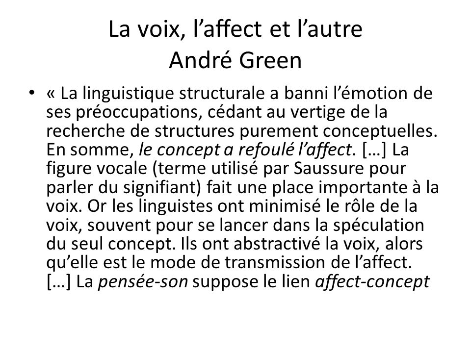 La voix, l'affect et l'autre André Green