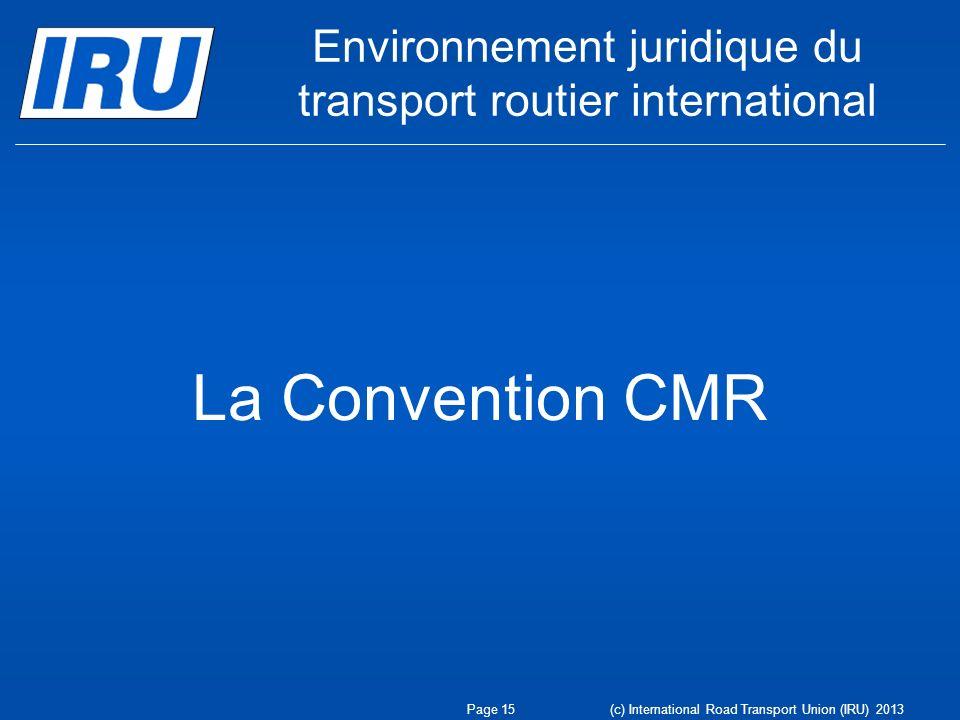 Environnement juridique du transport routier international
