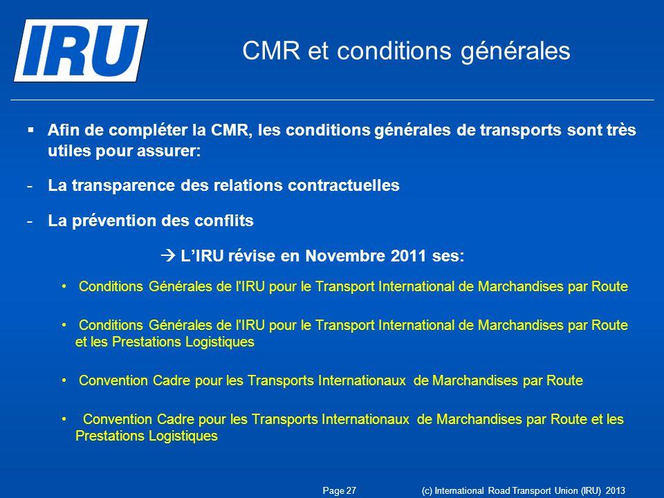 CMR et conditions générales