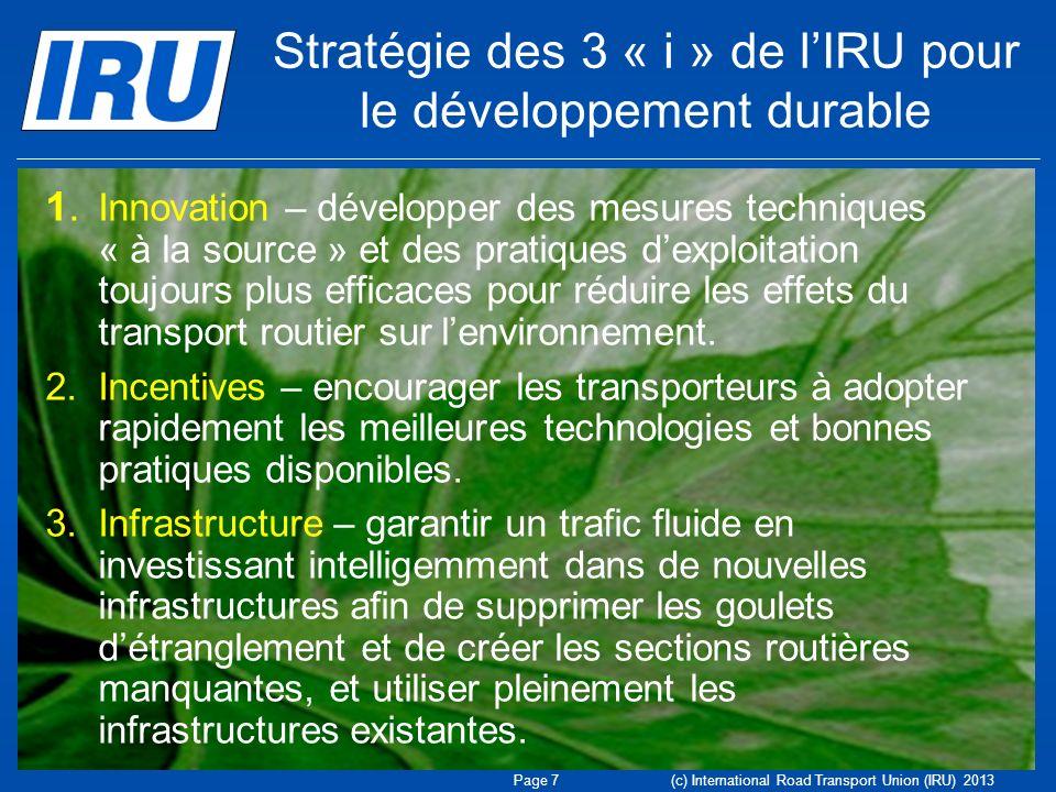 Stratégie des 3 « i » de l'IRU pour le développement durable