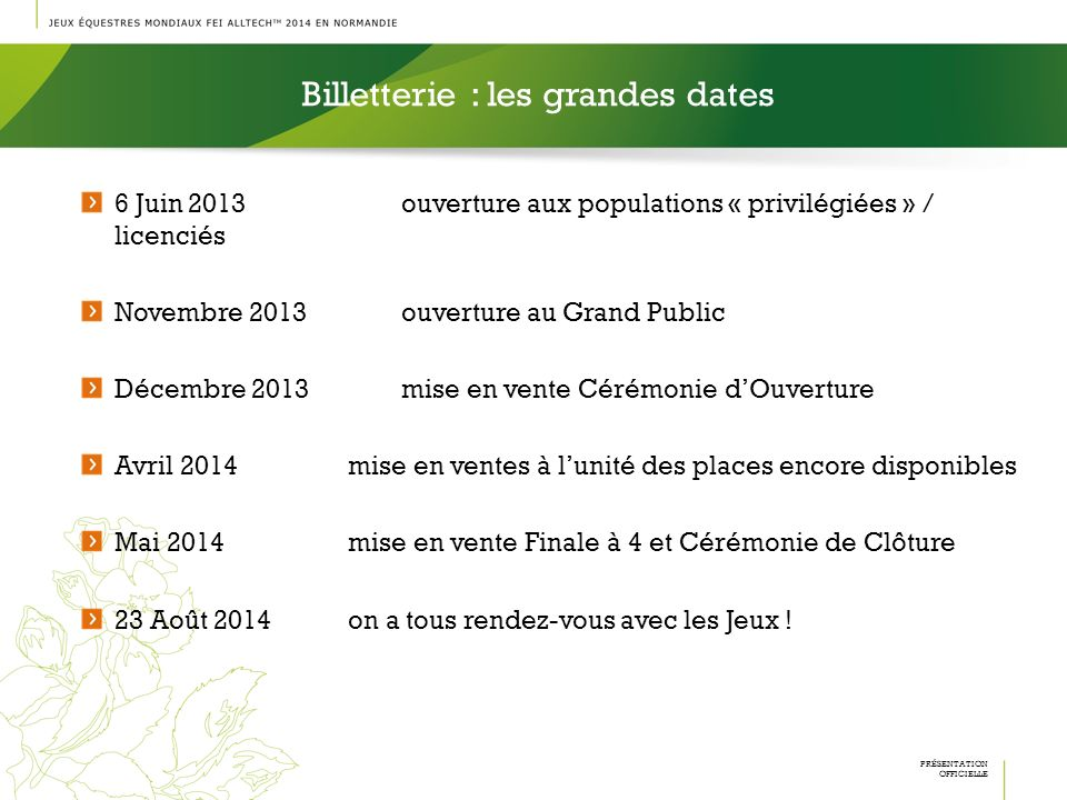 Billetterie : les grandes dates