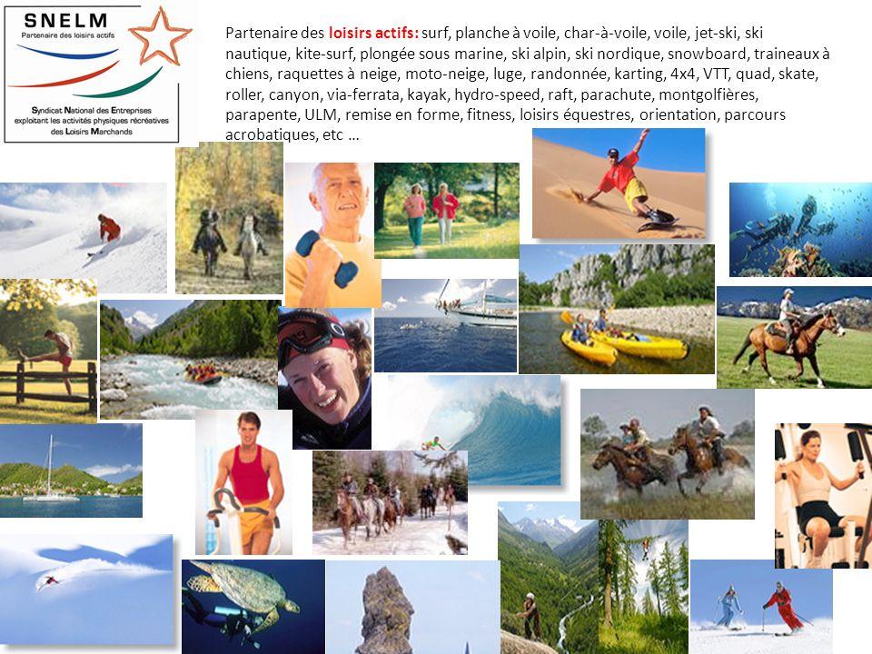 Partenaire des loisirs actifs: surf, planche à voile, char-à-voile, voile, jet-ski, ski nautique, kite-surf, plongée sous marine, ski alpin, ski nordique, snowboard, traineaux à chiens, raquettes à neige, moto-neige, luge, randonnée, karting, 4x4, VTT, quad, skate, roller, canyon, via-ferrata, kayak, hydro-speed, raft, parachute, montgolfières, parapente, ULM, remise en forme, fitness, loisirs équestres, orientation, parcours acrobatiques, etc …