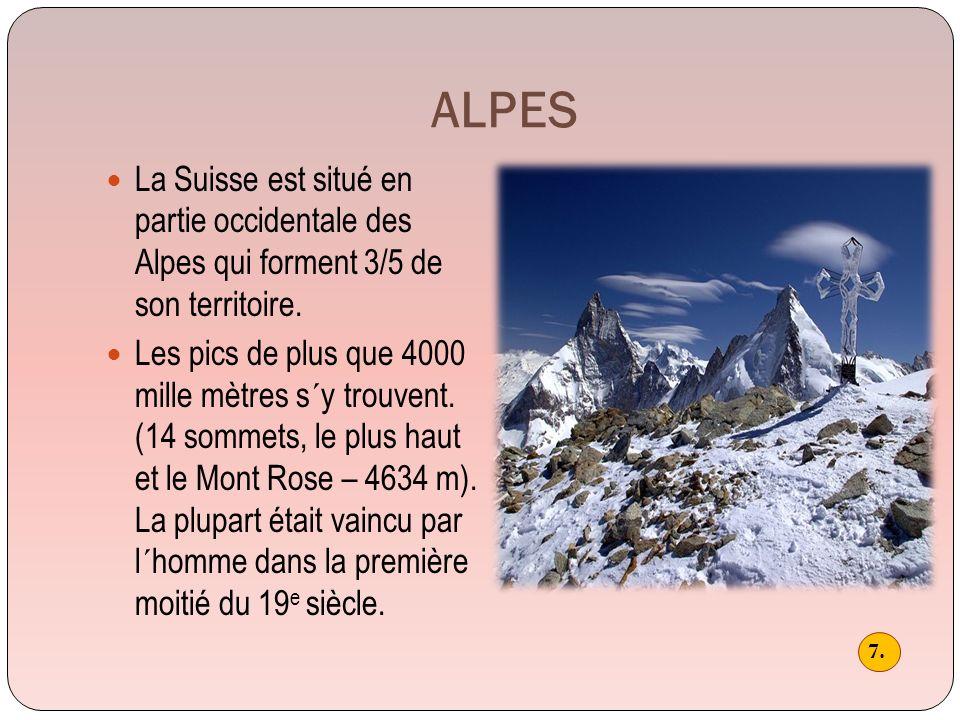 ALPES La Suisse est situé en partie occidentale des Alpes qui forment 3/5 de son territoire.
