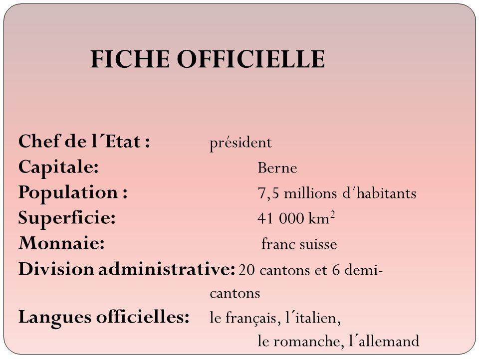 FICHE OFFICIELLE Chef de l´Etat : président Capitale: Berne