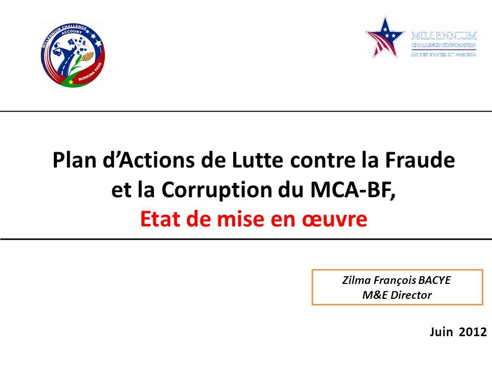 Plan d'Actions de Lutte contre la Fraude et la Corruption du MCA-BF,