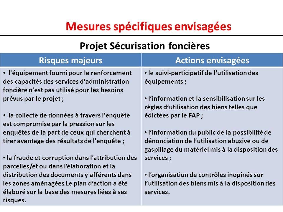 Mesures spécifiques envisagées Projet Sécurisation foncières