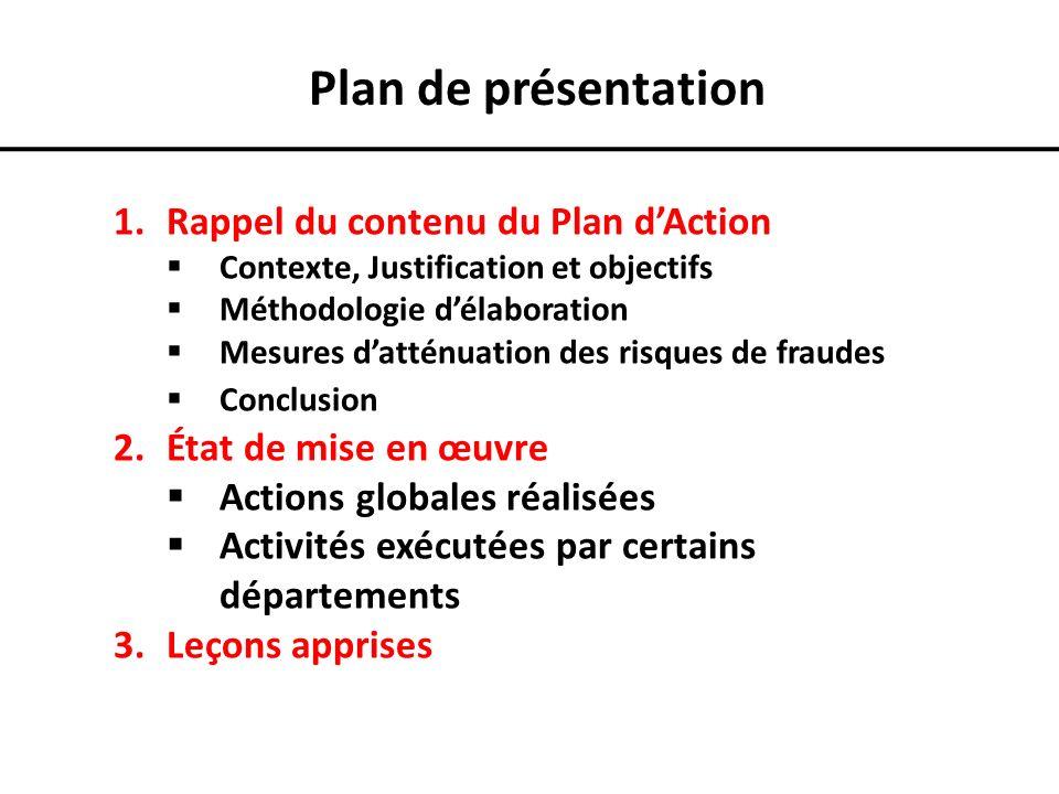 Plan de présentation Rappel du contenu du Plan d'Action