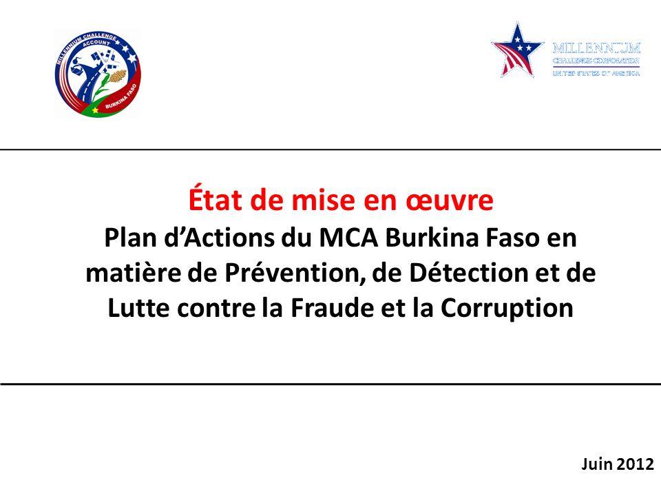 État de mise en œuvre Plan d'Actions du MCA Burkina Faso en matière de Prévention, de Détection et de Lutte contre la Fraude et la Corruption.