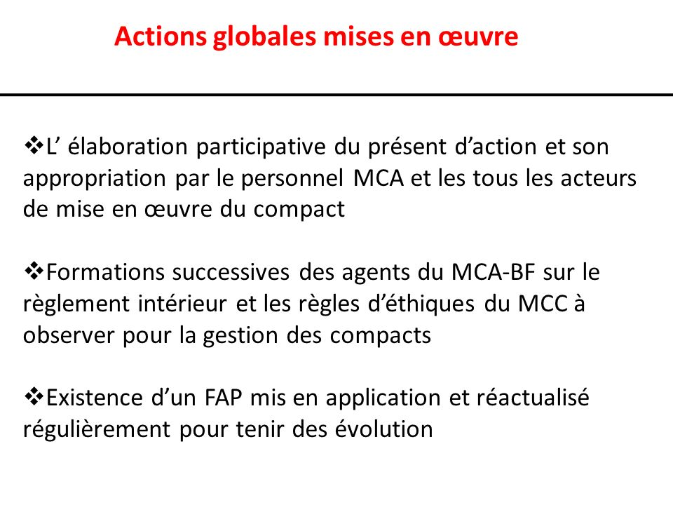 Actions globales mises en œuvre