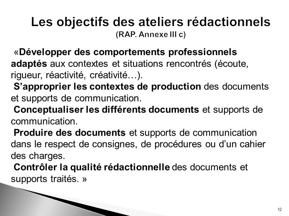 Les objectifs des ateliers rédactionnels (RAP. Annexe III c)