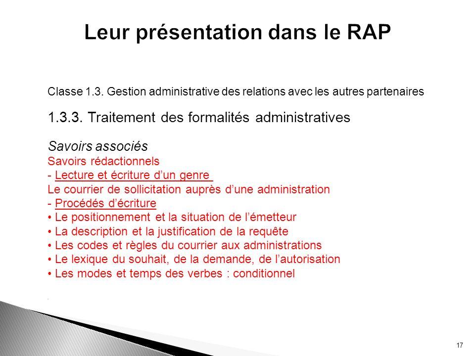 Leur présentation dans le RAP
