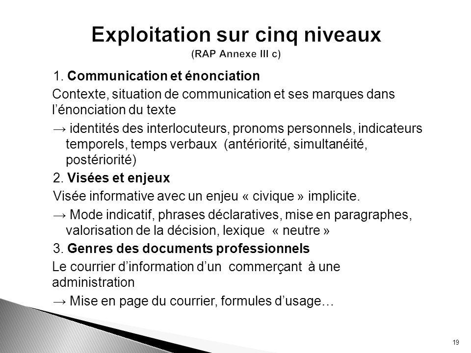 Exploitation sur cinq niveaux (RAP Annexe III c)