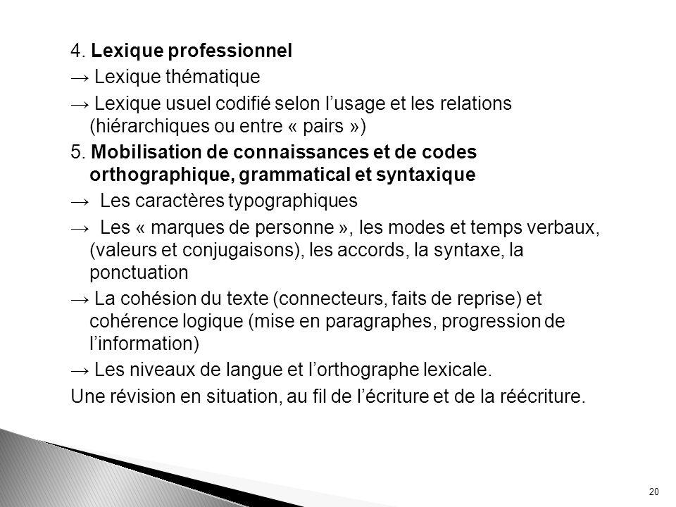 4. Lexique professionnel