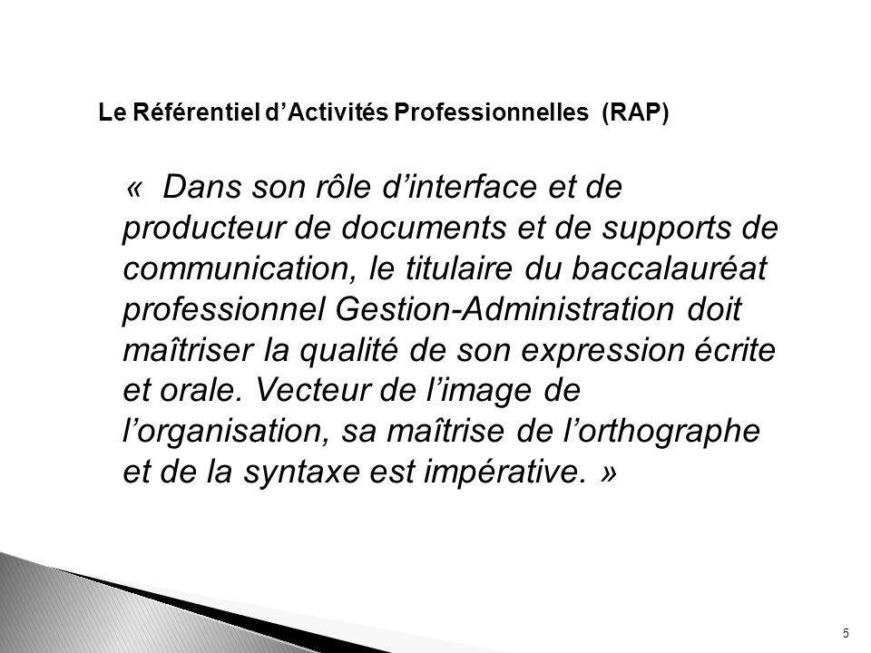 Le Référentiel d'Activités Professionnelles (RAP)