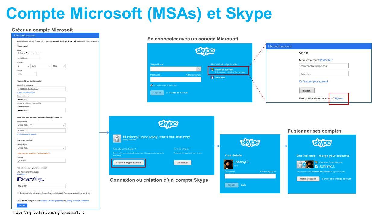 Compte Microsoft (MSAs) et Skype